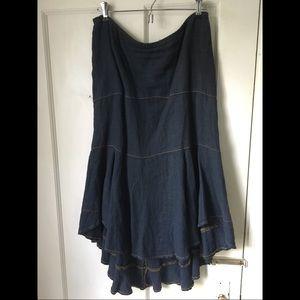 Anthropologie High Low Linen Skirt
